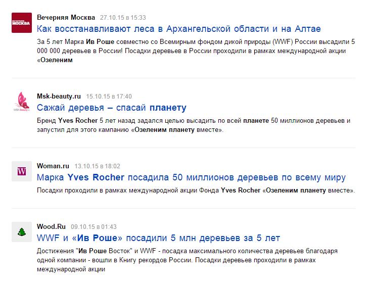 Средства массовой информации о благотворительной акции Yves Rocher
